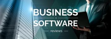 Business Software Review Man Typing on Laptop | Tumblr Banner Template