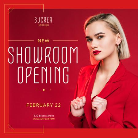Showroom Opening Announcement Woman in Red Suit Instagram – шаблон для дизайну