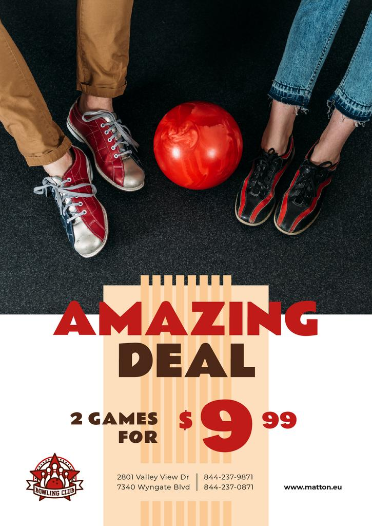 Bowling Offer Couple with Ball — Crear un diseño