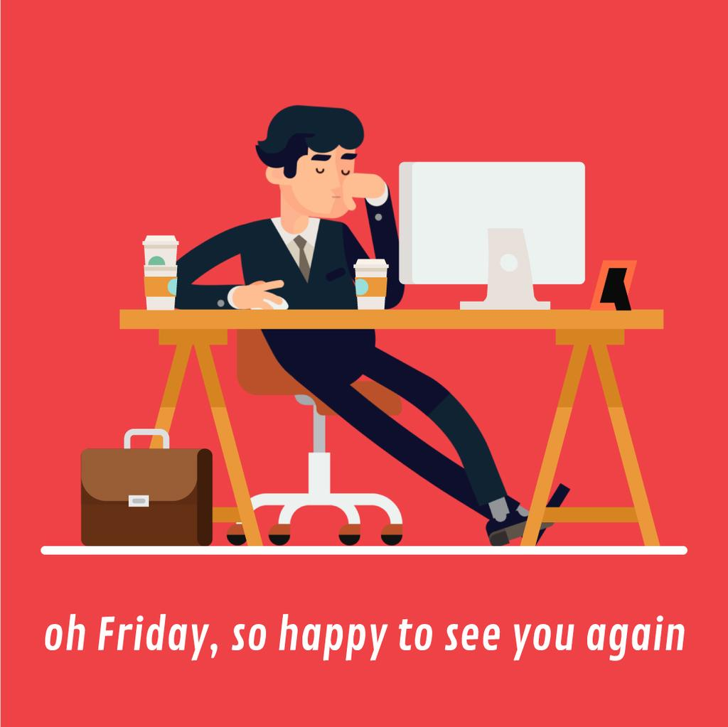 Man Feeling Sleepy at Work — Maak een ontwerp