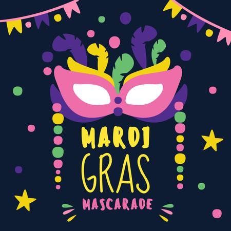Szablon projektu Mardi Gras carnival mask Instagram AD