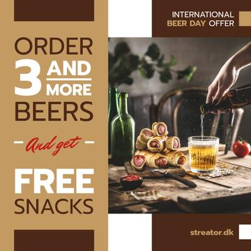 Beer Day Offer Glass and Snacks on Table | Instagram Post Template