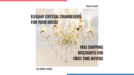 Elegant crystal Chandelier offer Title Design Template