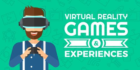 Plantilla de diseño de Virtual Reality Games Ad with Man in VR Glasses Twitter