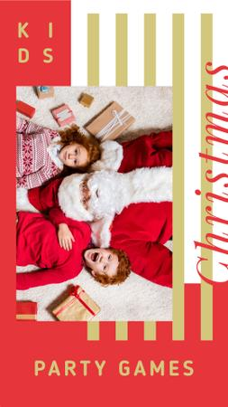 Kids and Santa Claus on Christmas Instagram Story Modelo de Design