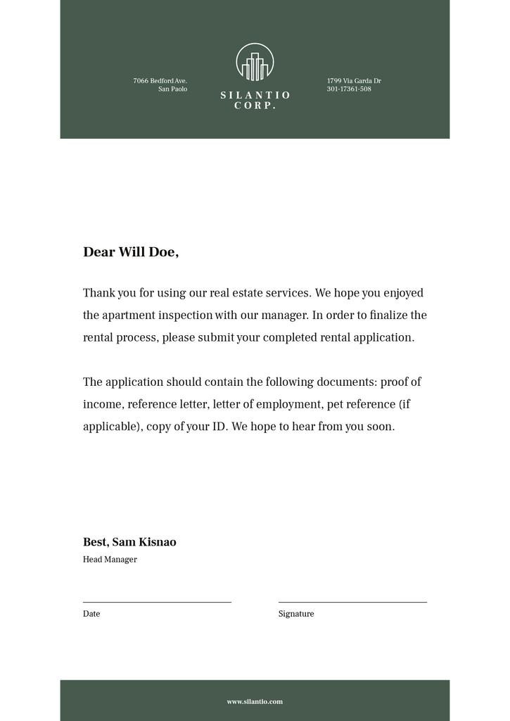 Real Estate company official response — ein Design erstellen