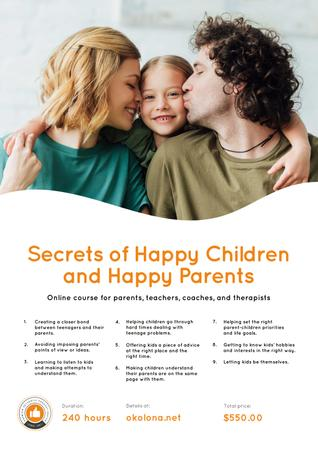 Parenthood Courses Ad Family with Daughter Poster Modelo de Design