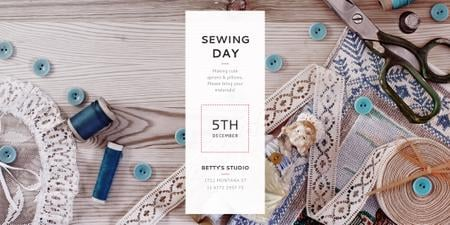 Designvorlage Sewing day event Announcement für Twitter