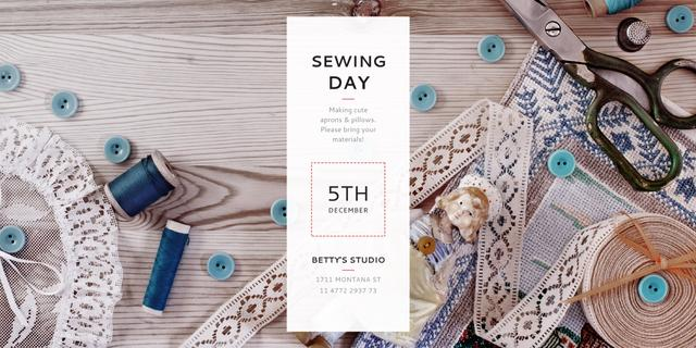 Sewing day event Announcement Twitter Design Template