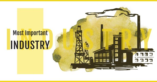 Thick Smoke from Industrial Chimney Facebook AD Design Template