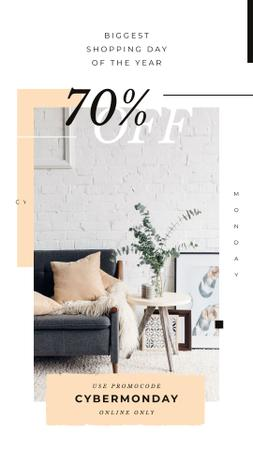Cyber Monday Sale with Cozy modern interior Instagram Story – шаблон для дизайну