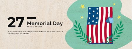 Plantilla de diseño de USA Memorial Day Waving Flag Facebook Video cover