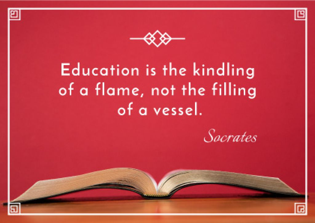 Educational quote with Opened Book Postcard Modelo de Design