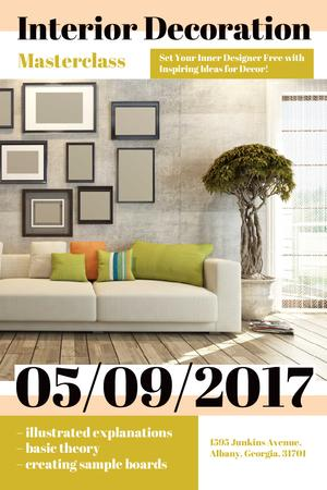 Ontwerpsjabloon van Pinterest van Interior Decoration Event Announcement with Interior in Grey