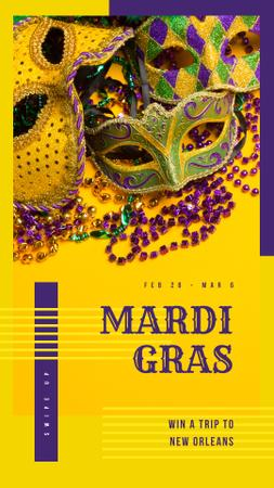 Plantilla de diseño de Mardi Gras Trip Offer Carnival Masks in Yellow Instagram Story