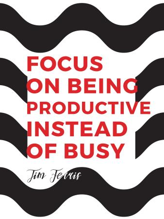 Plantilla de diseño de Productivity Quote on Waves in Black and White Poster US