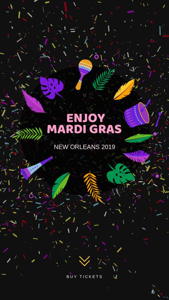 Mardi Gras Carnival Attributes Frame | Vertical Video Template — Створити дизайн