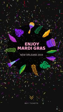Mardi Gras Carnival Attributes Frame | Vertical Video Template