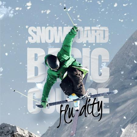 Template di design Skier on a Snowy Slope Animated Post