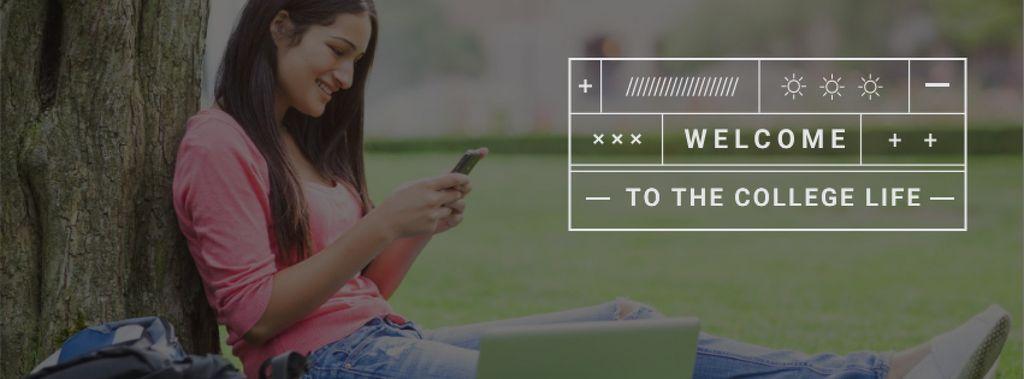 Plantilla de diseño de Girl sitting under Tree and holding smartphone Facebook cover