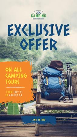Szablon projektu Camping Tour Offer Backpack in Scenic Mountains Instagram Story