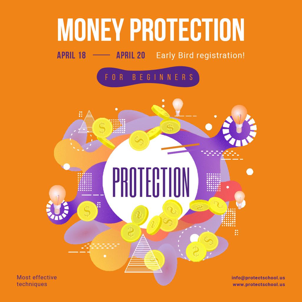 Financial Courses Ad with Golden Money Coins Frame — Создать дизайн