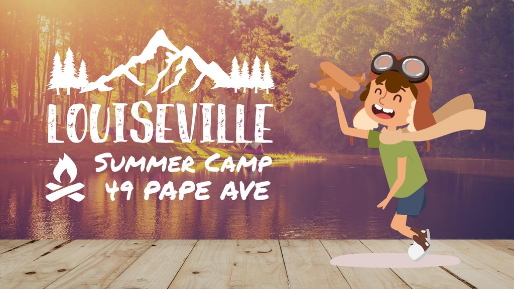 Summer Camp Invitation Boy Playing Toy Plane — Crea un design