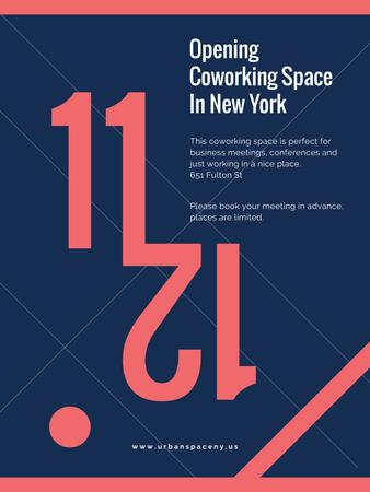 Coworking Opening Minimalistic Announcement in Blue and Red Poster US Modelo de Design