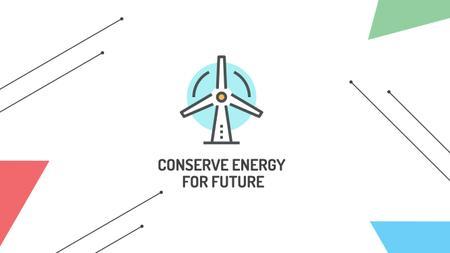 Plantilla de diseño de Conserve Energy with Wind Turbine Icon Youtube