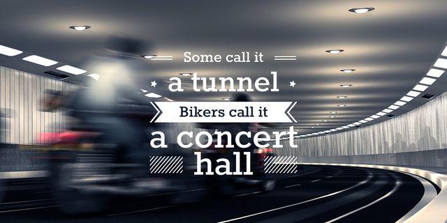 Ontwerpsjabloon van Twitter van Bikers Riding in Road Tunnel