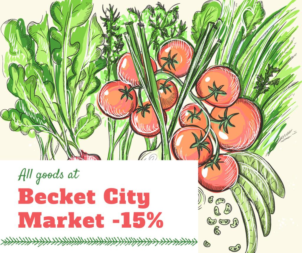City Market Sale Fresh Vegetables Illustration | Facebook Post Template — Modelo de projeto