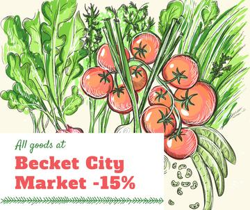 City Market Sale Fresh Vegetables Illustration | Facebook Post Template