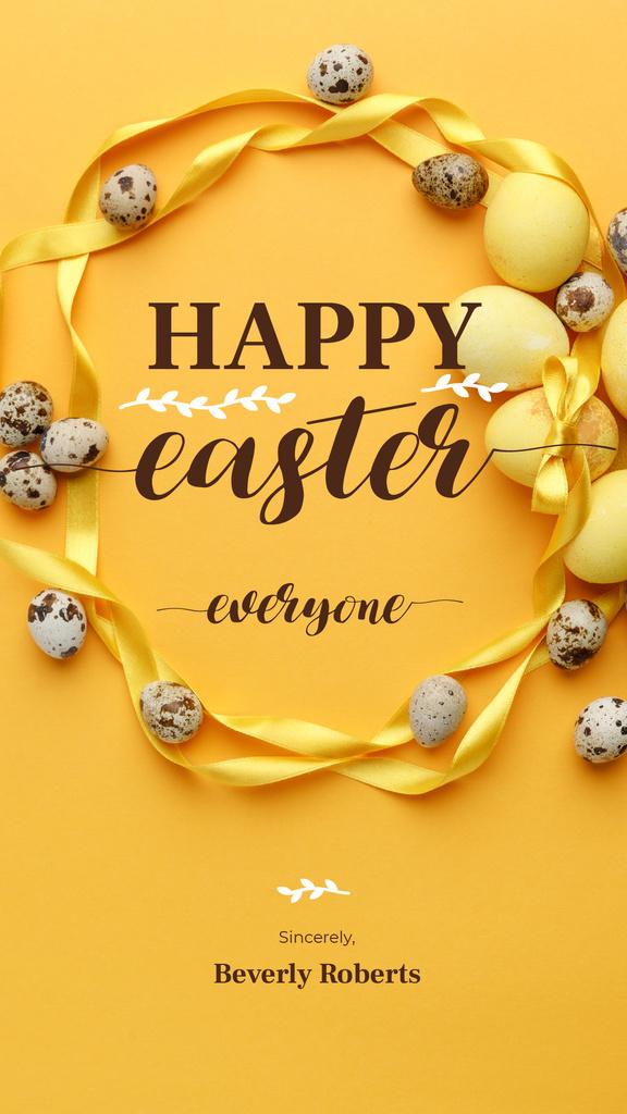 Colored Easter eggs on yellow — Modelo de projeto