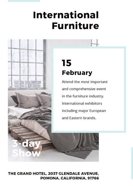 Plantilla de diseño de Furniture Show Bedroom in Grey Color Flayer