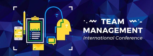 Plantilla de diseño de Business management conference icons Facebook Video cover