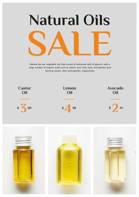 Template di design Beauty Products Sale with Natural Oil in Bottles Poster