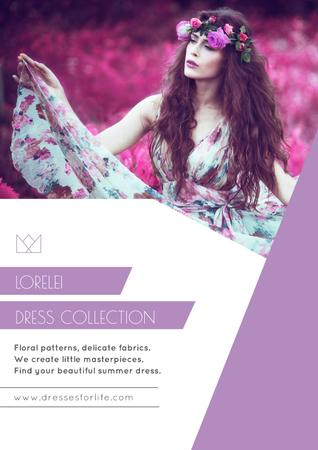 Plantilla de diseño de Fashion Ad with Woman in Floral Dress in Purple Poster