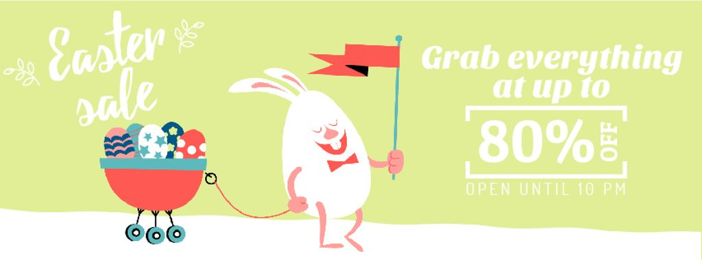 Easter Greeting with Bunny and Colored Eggs | Facebook Video Cover Template — Создать дизайн