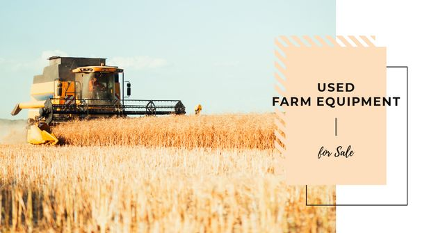 Harvester working in field Facebook AD Modelo de Design