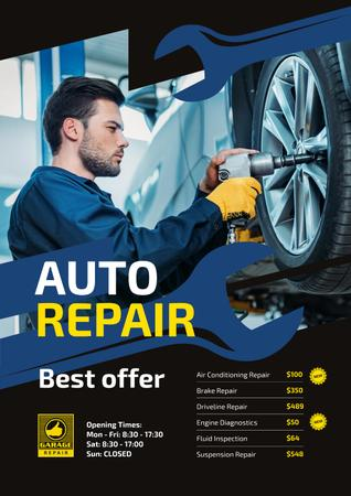 Auto Repair Service Ad with Mechanic at Work Posterデザインテンプレート