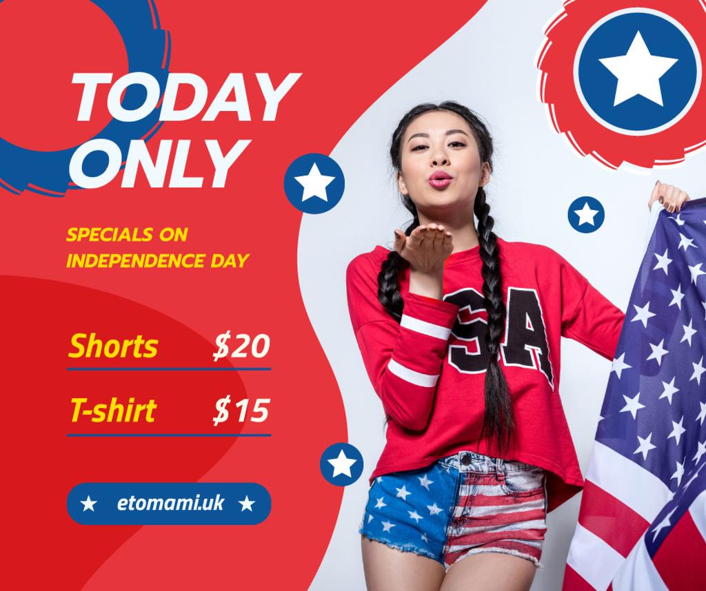 Plantilla de diseño de Independence Day Sale Ad with Woman Blowing Kiss Facebook