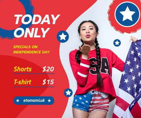 Template di design Independence Day Sale Ad with Woman Blowing Kiss Facebook
