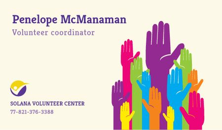 Volunteer Coordinator Contacts Information Business card Modelo de Design