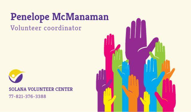 Volunteer Coordinator Contacts Information Business card Modelo de Design