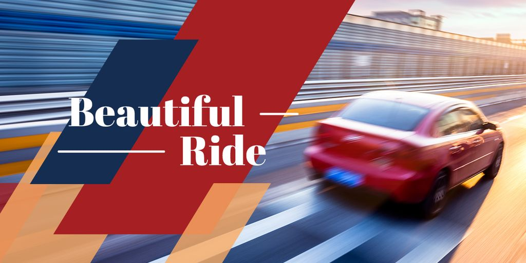 Blurred red car driving fast on road with text beautiful ride — Maak een ontwerp