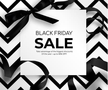 Black Friday promo with ribbon Facebook – шаблон для дизайну