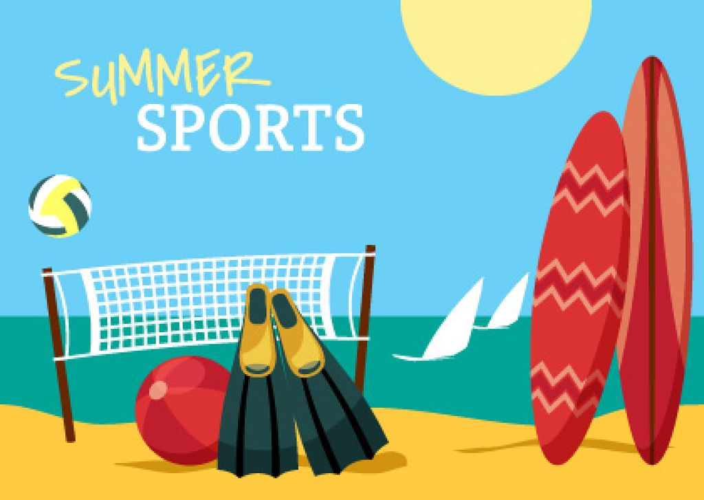 Summer sports with Beach illustration — Crear un diseño