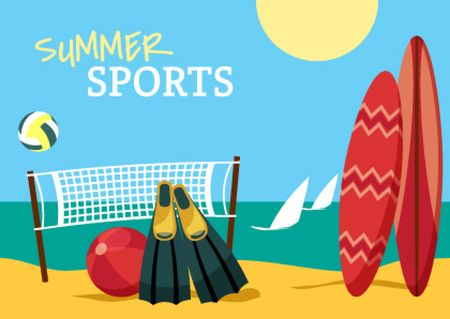 Summer sports with Beach illustration Postcard – шаблон для дизайна