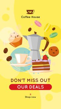 Coffee pot and desserts