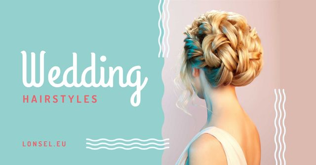 Wedding Hairstyles Offer with Bride with Braided Hair Facebook AD Design Template